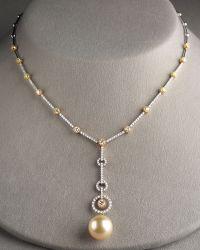 Assael - Golden Pearl & Diamond Necklace - Lyst