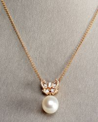 Assael - Peach Pearl Bow Necklace - Lyst