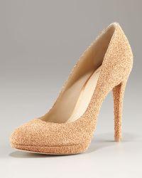 B Brian Atwood Frederique Round Toe Textured Glitter Platform Pump - Metallic
