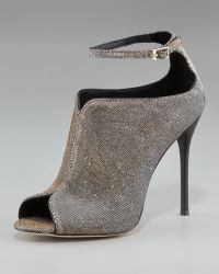 B Brian Atwood Sparkly Ankle Strap Peep-toe Bootie - Lyst