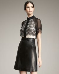 Jason Wu A-line Leather Skirt black - Lyst