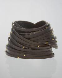 Linea Pelle - Double-Wrap Studded Leather Bracelet, Black - Lyst