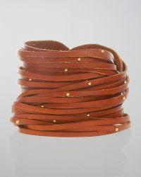 Linea Pelle - Double-Wrap Studded Leather Bracelet, Cognac - Lyst