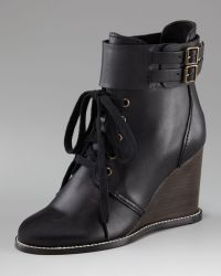 See By Chloé Lace-up Wedge Bootie - Lyst