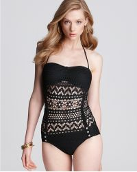 Robin Piccone Penelope Crochet Overlay One Piece Swimsuit - Lyst
