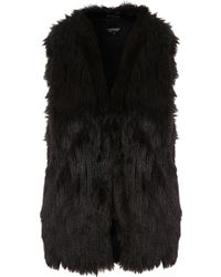 Topshop Tassle Hem Faux Fur Gilet black - Lyst