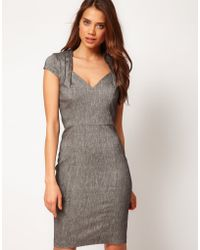 Asos Pencil Dress with Folded Neck - Lyst