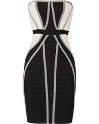 Hervé Léger Strapless Paneled Bandage Dress - Lyst