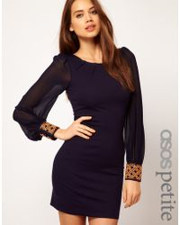 ASOS Collection Asos Petite Exclusive Bodycon Dress with Embellished Cuff blue - Lyst