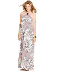 Jessica Simpson Sleeveless Beaded Printed Empire Waist Maxi - Lyst