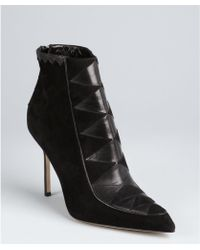 Manolo Blahnik Black Suede Harlequin Detail Pointed Toe Ankle Boots black - Lyst