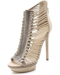 B Brian Atwood Frontera Suede Platform Booties - Lyst