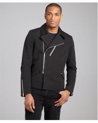 Balenciaga Black Cotton Linen Motorcycle Jacket - Lyst