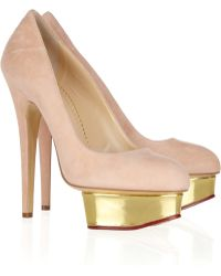 Charlotte Olympia Dolly Suede Platform Pumps - Lyst