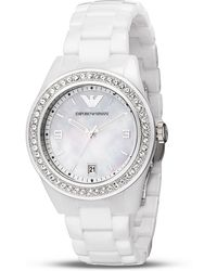 Emporio Armani Motherofpearl and Ceramic Bracelet Watch - Lyst