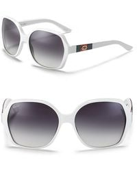 Gucci White Rounded Oversized Sunglasses - Lyst