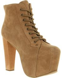Jeffrey Campbell Lita Platform Ankle Boot Taupe Suede - Lyst