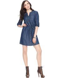 Calvin Klein Jeans Three Quarter Sleeve Denim Dress - Lyst