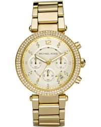Michael Kors Women'S Chronograph Parker Gold Ion Plated Stainless Steel Bracelet Watch 39Mm Mk5354 - Lyst