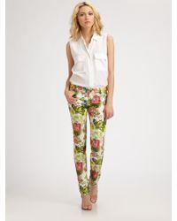 Alice + Olivia 5pocket Printed Skinny Jeans - Lyst