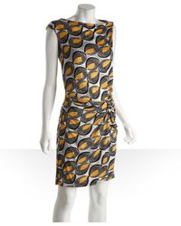 Diane von Furstenberg Yellow and Grey Abstract Print Silk Knit Jersey Jennifer Shift Dress - Lyst