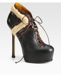Saint Laurent Leather and Shearling Laceup Ankle Boots - Lyst