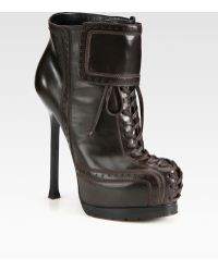Saint Laurent Leather Laceup Platform Ankle Boots - Lyst