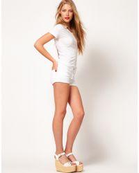 American Apparel - American Apparel White Denim Knicker Shorts - Lyst