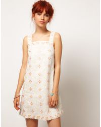 Asos Salon Pinafore Dress with Daisy Embroidery - Lyst