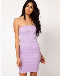 ASOS - Asos Coloured Denim Bandeau Dress - Lyst