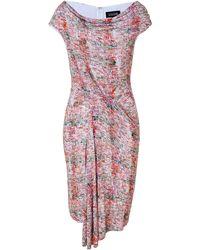 Saloni Coral and Olive Shibori Print Dress - Lyst