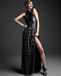 Halston Heritage Shimmery Diamond-print Gown - Lyst