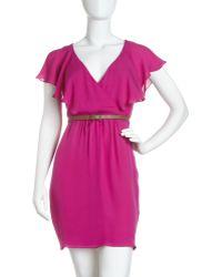 Julie Dillon | Flutter sleeve Belted Dress | Lyst