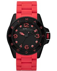 Marc By Marc Jacobs Womens Diver Coral Silicone Wrapped Black Ion Plated Stainless Steel Bracelet 45mm - Lyst
