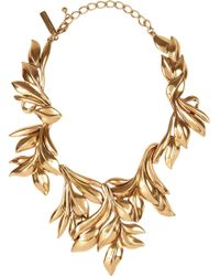 Oscar de la Renta 24karat Goldplated Leaf Necklace - Lyst