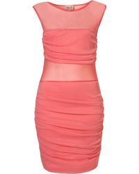 Topshop Ruched Mesh Dress By Dress Up Topshop pink - Lyst