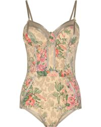 Zimmermann Devoted Floral-print Swimsuit beige - Lyst