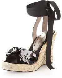 Beverly Feldman - Anklewrap Suede Wedge Black - Lyst