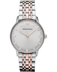 Emporio Armani Womens Two Tone Stainless Steel Bracelet 32mm - Lyst