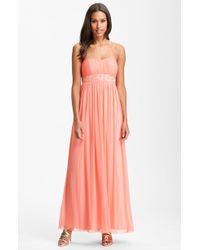 JS Boutique Strapless Beaded Mesh Gown - Lyst