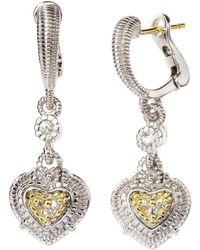 Judith Ripka - Pave Heart Earrings - Lyst