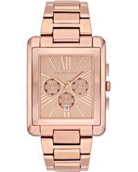 Michael Kors Rectangleface Rose Golden Watch - Lyst