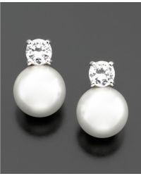 Lauren by Ralph Lauren Glass Pearl & Cubic Zirconia Stud Earrings (10 Mm) white - Lyst