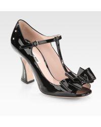 Miu Miu Patent Leather T-strap Bow Sandals - Lyst