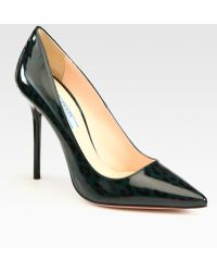 Prada Printed Patent Leather Point Toe Pumps - Lyst