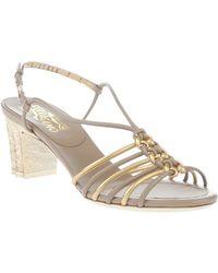 Ferragamo Block Heel Sandal - Lyst