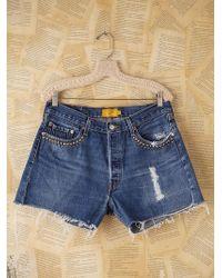 Free People Vintage Custom Studded Denim Cutoff Shorts - Lyst