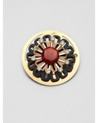 Marni Stone Accented Circular Floral Pin - Lyst