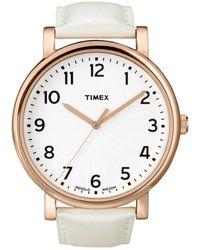 Timex® Womens Originals White Leather Strap 42mm T2n341um Macys Exclusive - Lyst