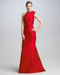 Carolina Herrera Bowshoulder Satin Gown - Lyst